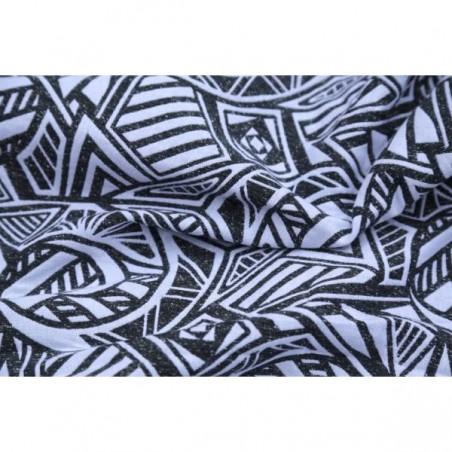 Echarpe Yaro - Urban Geo Contra Black White Wool Bourette- 45% coton/35% laine/20% bourette silk