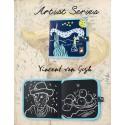 Cahier ardoise illustré - Jaq Jaq Bird - Van Gogh + 4 craies zéro poussière