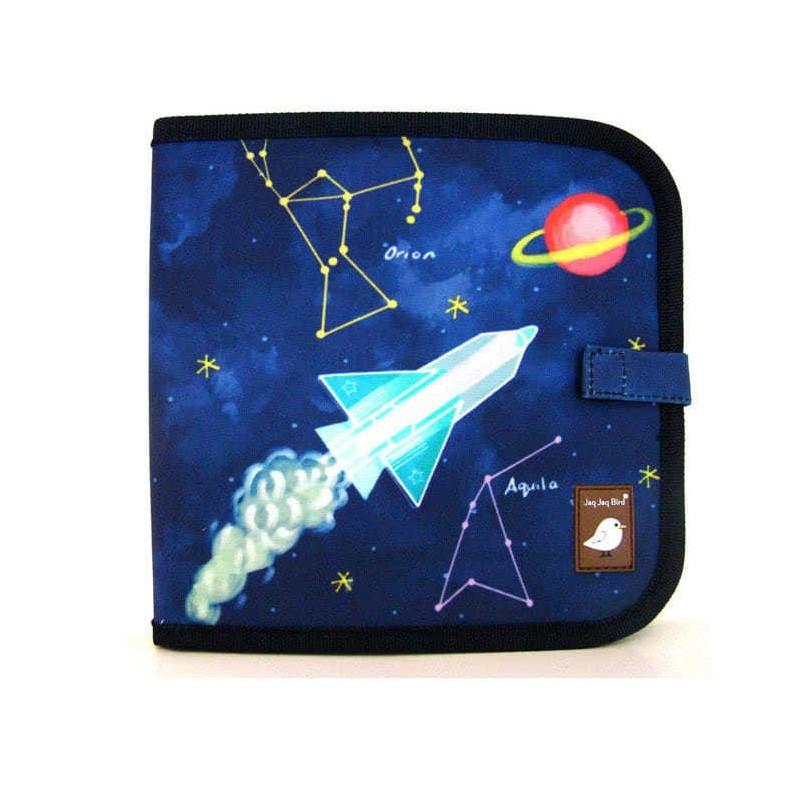 Cahier ardoise illustré - Jaq Jaq Bird - Constellation + 4 craies zéro poussière