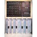 Ardoise calendrier adhésive - Jaq Jaq Bird - + 4 craies couleurs + porte-craie