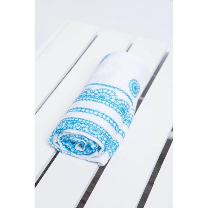 Carré de mousseline bébé - Iced Lace Turquoise & White - Lennylamb