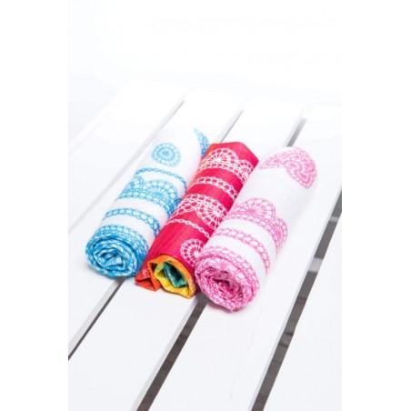 Set de Carrés de mousseline bébé - Rainbow Lace, Iced Lace Pink & White et Iced Lace Turquoise & White - Lennylamb