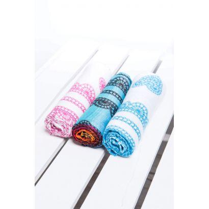 Set de Carrés de mousseline bébé - Rainbow Lace Dark, Iced Lace Pink & White et Iced Lace Turquoise & White - Lennylamb