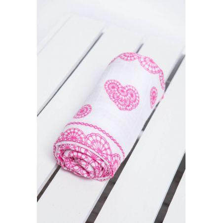 Carré de mousseline bébé - Iced Lace Pink & White - Lennylamb