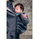 Manteau Softshell - Charcoal with Little Herringbone Elegance
