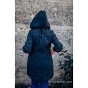 Manteau Softshell - Navy Blue with Little Herringbone Illusion