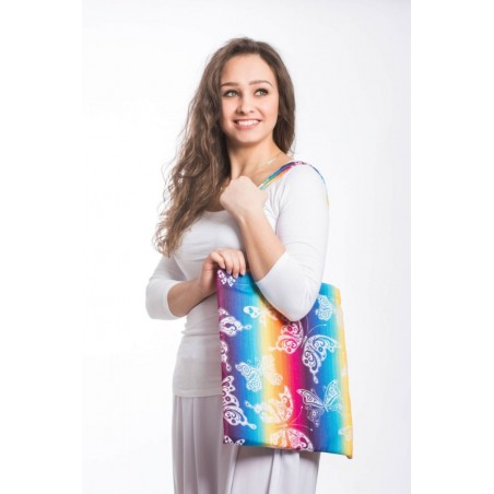 Sac Shopping Lennylamb - Butterfly Rainbow Light - 33cmx39cm