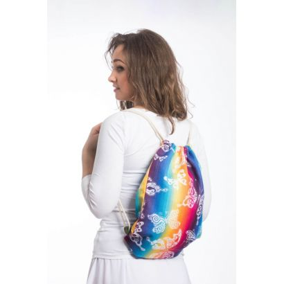 Sac à lanières Lennylamb - Butterfly Rainbow Light - 100% coton - 35cm x 45cm - 2
