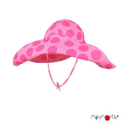 Chapeau à large bord Coton/Chanvre - Big Dots Pink - Manymonths - 2