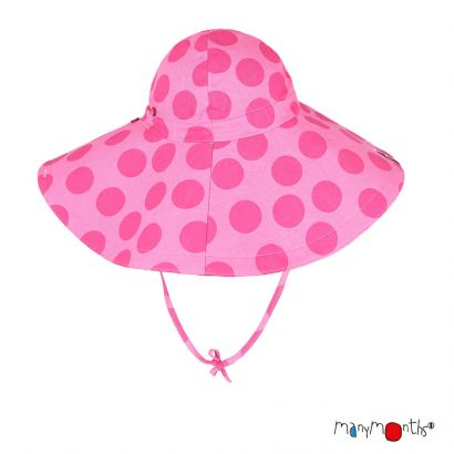 ManyMonths Eco Floppy Wide Brim Summer Hat Light - Big Dots Pink - Coton/Chanvre