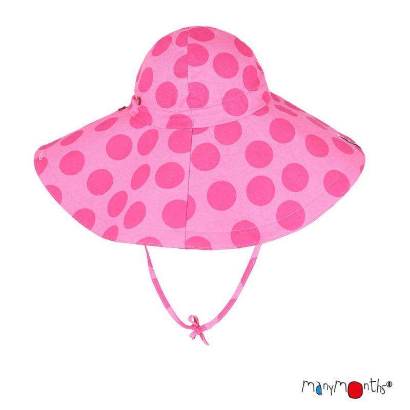 Chapeau à large bord Coton/Chanvre - Big Dots Pink - Manymonths - 1