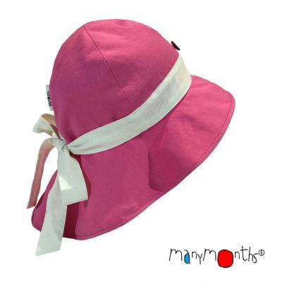 ManyMonths Eco Adjustable Summer Hat With Bow - Pink Peony - Coton/Chanvre
