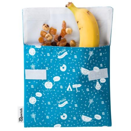 Poche à snack Kids - Qwetch - Motifs enfants turquoise