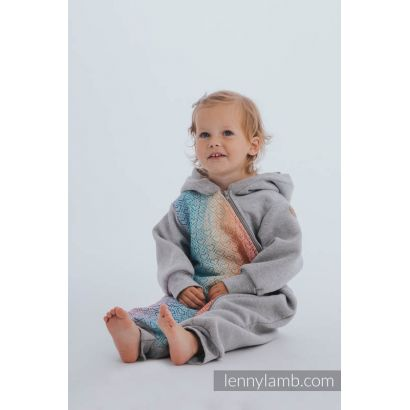 Combinaison bébé sweat - Gray Melange with Big Love Rainbow - Lennylamb - 1