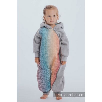 Combinaison bébé sweat - Gray Melange with Big Love Rainbow - Lennylamb