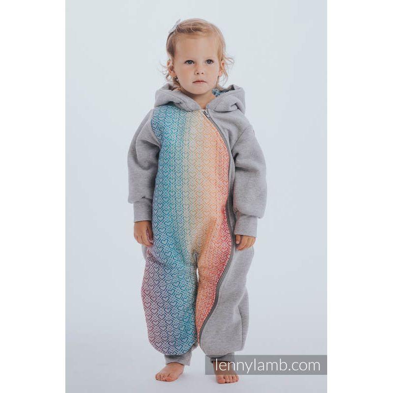 Combinaison bébé sweat - Gray Melange with Big Love Rainbow - Lennylamb - 2