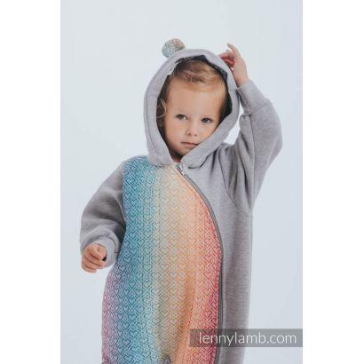 Combinaison bébé sweat - Gray Melange with Big Love Rainbow - Lennylamb - 4