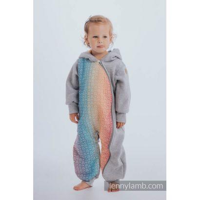 Combinaison bébé sweat - Gray Melange with Big Love Rainbow - Lennylamb - 5