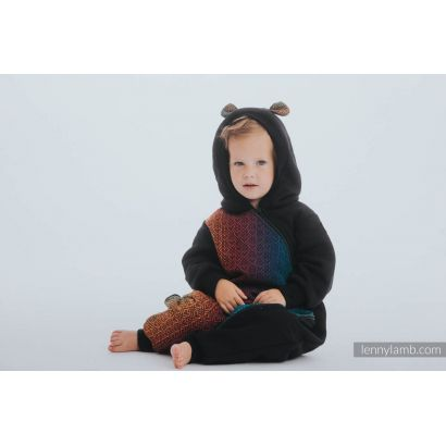 Combinaison bébé sweat - Black & Big Love Rainbow Dark - Lennylamb