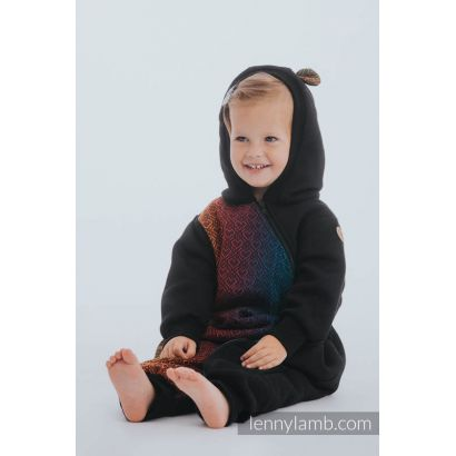 Combinaison bébé sweat - Black & Big Love Rainbow Dark - Lennylamb - 2