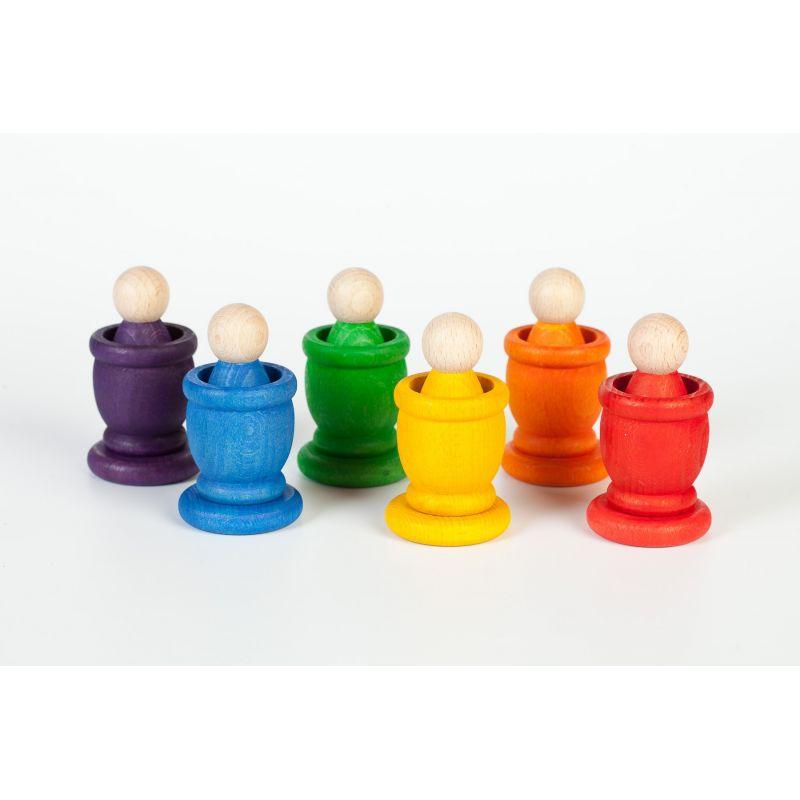 6 Nins®, 6 pots et 6 pièces colorés - Grapat - 1