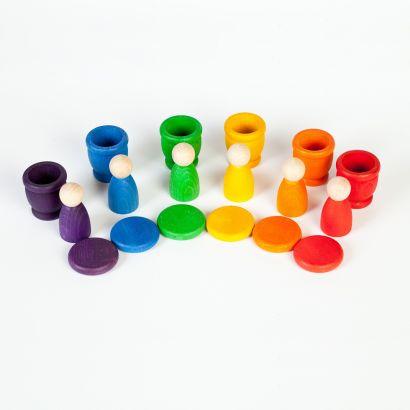 6 Nins®, 6 pots et 6 pièces colorés - Grapat - 2