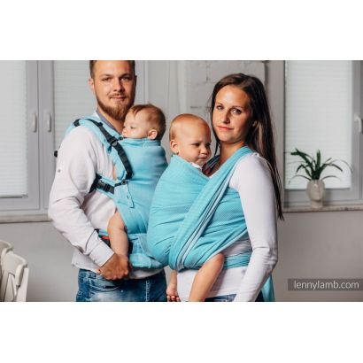 Porte bébé LennyUpGrade - Basic Line Little Herringbone Turquoise  - Lennylamb - 2