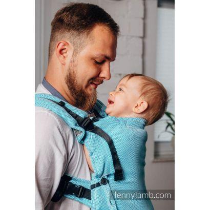 Porte bébé LennyUpGrade - Basic Line Little Herringbone Turquoise  - Lennylamb - 5