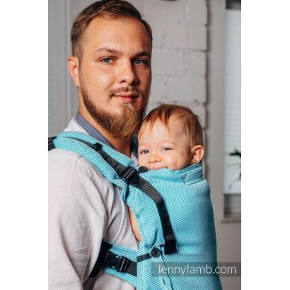 Porte bébé LennyUpGrade - Basic Line Little Herringbone Turquoise  - Lennylamb - 6