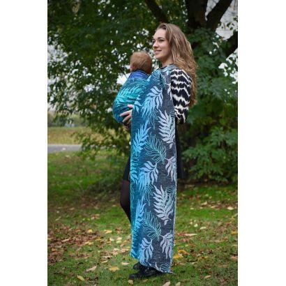 Echarpe Yaro - Oasis Duo Aqua Grad Emerald Navy Wool - 70% Coton/30% Laine - 1