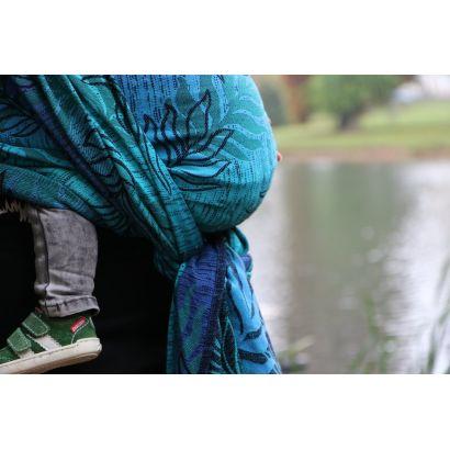 Echarpe Yaro - Oasis Duo Aqua Grad Emerald Navy Wool - 70% Coton/30% Laine - 2