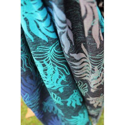 Echarpe Yaro - Oasis Duo Aqua Grad Emerald Navy Wool - 70% Coton/30% Laine - 12