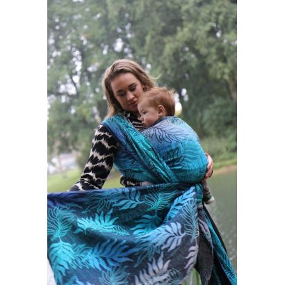Echarpe Yaro - Oasis Duo Aqua Grad Emerald Navy Wool - 70% Coton/30% Laine - 13