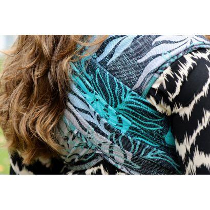 Echarpe Yaro - Oasis Duo Aqua Grad Emerald Navy Wool - 70% Coton/30% Laine - 18