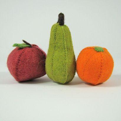 Lot de fruits en laine feutrée - Pomme, poire et orange - Papoose Toys  - 1