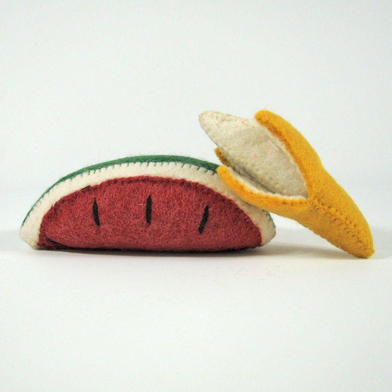 Fruits en laine feutrée - Banane et pastèque - Papoose Toys  - 1