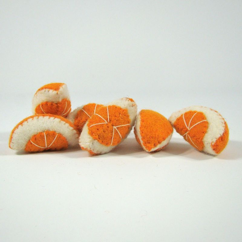 Fruits en laine feutrée - 6 quartiers d'orange - Papoose Toys  - 1