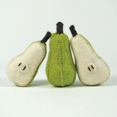 Fruits en laine feutrée - 3 poires - Papoose Toys  - 1