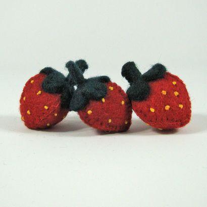 Fruits en laine feutrée - 3 fraises - Papoose Toys  - 1