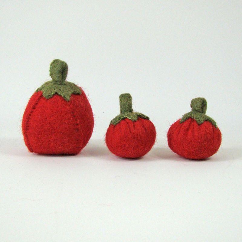 Légumes en laine feutrée - 3 tomates - Papoose Toys  - 1