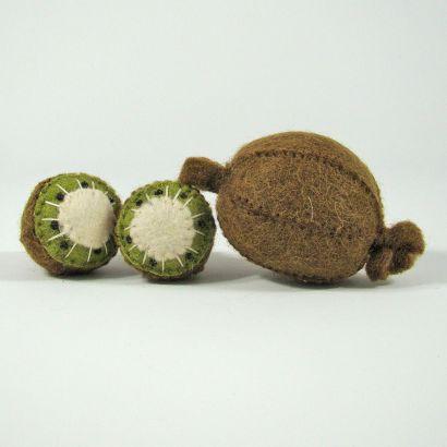 Fruits en laine feutrée - 3 kiwis - Papoose Toys  - 1