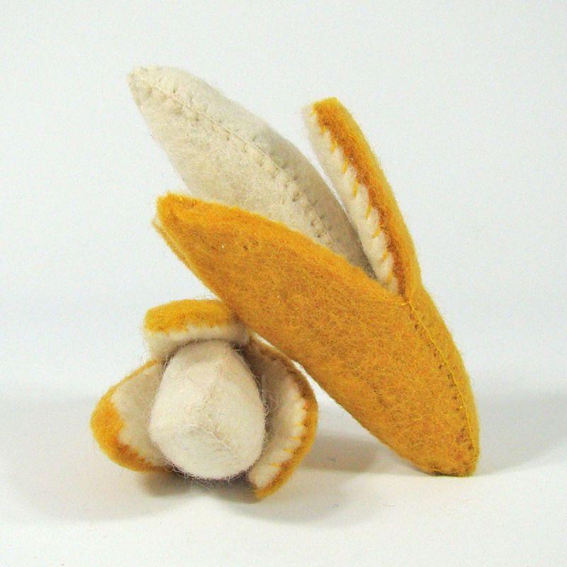 Fruits en laine feutrée - 2 bananes - Papoose Toys  - 1
