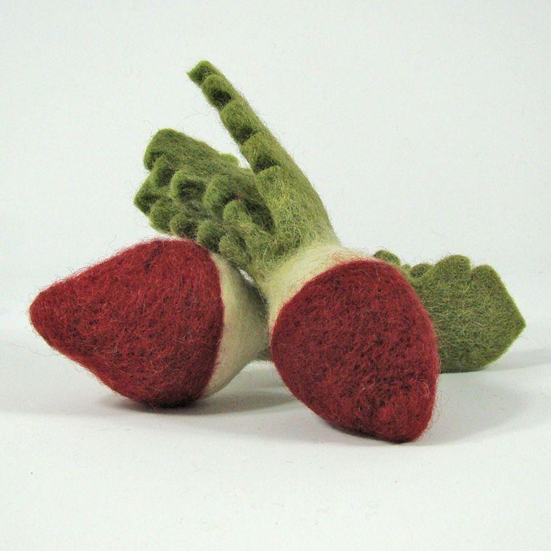 Légumes en laine feutrée - 2 radis - Papoose Toys  - 1
