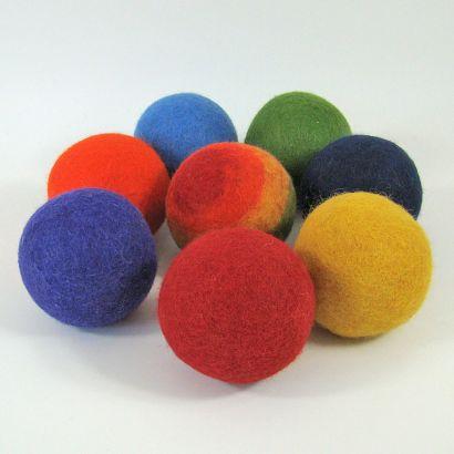 8 balles arc-en-ciel en feutre de laine - 7cm - Papoose Toys  - 1