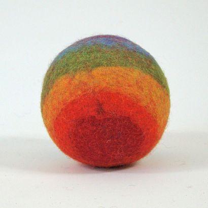 8 balles arc-en-ciel en feutre de laine - 7cm - Papoose Toys  - 8