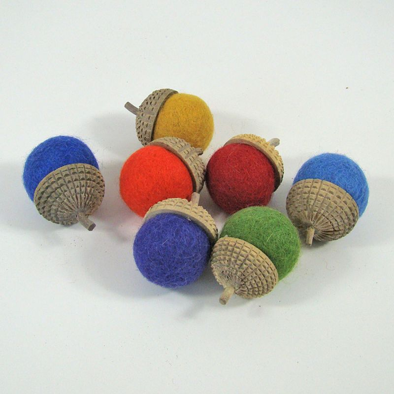 7 glands arc-en-ciel en feutre de laine - Papoose Toys  - 1