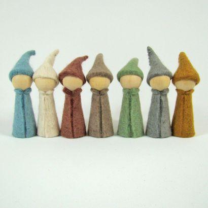 7 gnomes earth en feutre de laine - Papoose Toys  - 1