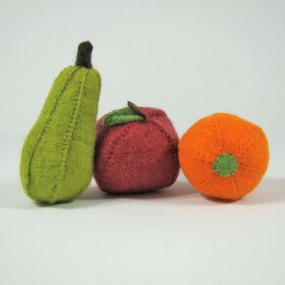 Lot de fruits en laine feutrée - Pomme, poire et orange - Papoose Toys  - 2