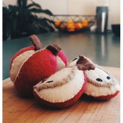 Fruits en laine feutrée - 6 quartiers de pomme - Papoose Toys  - 2