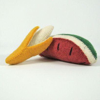 Fruits en laine feutrée - Banane et pastèque - Papoose Toys  - 4